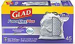 135 ct Glad ForceFlexPlus Tall Kitchen Drawstring Trash Bags $21 & More