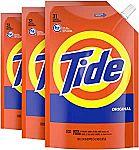 3-Pack 45-oz Tide Liquid Laundry Detergent HE Soap Pouches $11.70