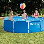 """Intex 10' x 30"""" Metal Frame Above Ground Swimming Pool with Filter Pump $249.99"""