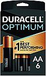 6 Count Duracell Optimum AA Batteries $2.58