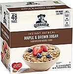 48-Ct Quaker Instant Oatmeal, Maple & Brown Sugar $7.55
