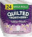 24 Mega Rolls Quilted Northern Ultra Plush Toilet Paper with Sweet Lilac & Vanilla Scented Tube $17.72