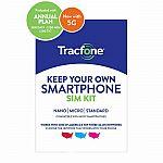 Tracfone 1-Year Prepaid Smartphone Plan w/ 1200 Min, 1200 Texts & 3GB Data $24