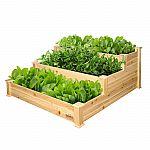 """Expert Gardener 3-Tier Wood Garden Bed (4' x 4' x 22"""") $40 & More"""