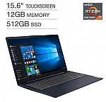 "Lenovo IdeaPad 3 15.6"" Touchscreen Laptop: Ryzen 7 5700U, 12GB, 512GB $549.99"