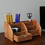 Hastings Home Bamboo 5 Compartment Tray Desk Organizer $14.99