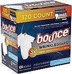 120-Ct Bounce WrinkleGuard Mega Fabric Softener Sheets (Outdoor Fresh) $6