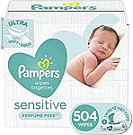 505 ct Pampers Sensitive Water Based Baby Diaper Wipes $9.69 and more