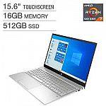 "HP Pavilion 15.6"" Touchscreen Laptop: Ryzen 7 5700U, FHD, 16GB, 512GB $599.99"