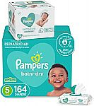 Pampers 164-Ct Baby Diapers Size 5 + 336-Ct Sensitive Wipes $32