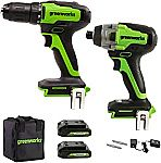 Greenworks 24V Brushless Drill / Driver & Impact Driver Kit w/ 2X Batteries & Charger $97