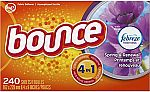 240-Count Bounce with Febreze Scent Spring & Renewal Fabric Softener Dryer Sheets $4