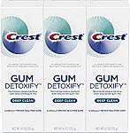 3-Pk 4.1-oz Crest Toothpaste Gum Detoxify Deep Clean $10.92 & More