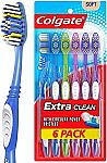 6-Pack Colgate Extra Clean Toothbrush (Full Head, Soft) (3 for $6.35) & More