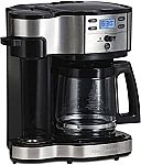 Hamilton Beach 2-Way Coffee Brewer w/ 12-Cup Carafe (Stainless Steel) $40