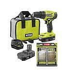 RYOBI ONE+ 18V 1/2 in. Drill/Driver w/ (2) 1.5 Ah Batteries + Drill Bit Kit $59 (50% Off)