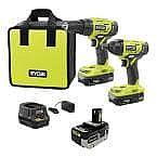 Ryobi ONE+ 18V Cordless 2-Tool Combo Kit + 3x Batteries, Charger, Bag $99