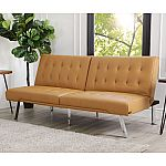 Kenzie Leather Foldable Futon Sofa Bed $200, Reese 6-Piece Wood Dining Set $599