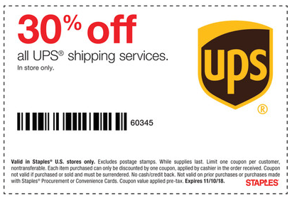 30% Off All UPS Shipping Services (In Store only)